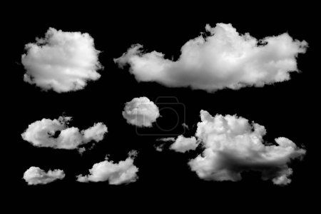 Photo for Set of different clouds isolated on black background. Design elements - Royalty Free Image