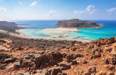 Crete coast, Balos bay, Greece. Amazing sand strand, sea of turquoise and blue colors with the ship. Popular touristic resort. A landscape on a summer sunny day.