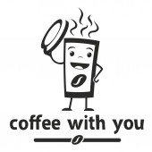 A Cup of coffee took off the lid and smiles on a white Logotype