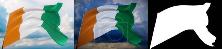Photo pour Arrière-plan avec drapeau de Côte Ivoire. - image libre de droit