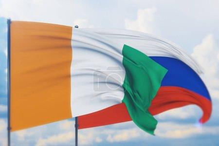 Photo pour Illustration de concept, drapeau russe et drapeau de Côte Ivoire. - image libre de droit