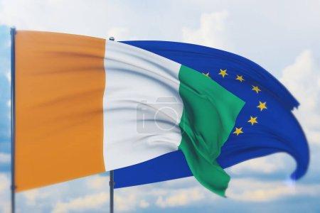 Photo pour Illustration conceptuelle, UE et drapeau de la Côte Ivoire. - image libre de droit