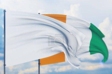 Photo pour Illustration conceptuelle, États-Unis et drapeau de Côte Ivoire. - image libre de droit