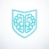 Smart Defense concept of intelligent software antivirus Human anatomical brain composed with guard ammunition shield Vector logo template