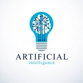Artificial intelligence concept vector logo design Human anatomical brain inside of light bulb with electronics technology elements icon Smart software futuristic idea
