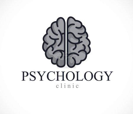 Illustration pour Cerveau anatomique humain, psychologie de la santé mentale logo conceptuel ou icône, concept de psychanalyse et de psychothérapie. Vecteur design classique simple . - image libre de droit