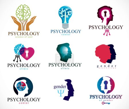 Illustration for Psychology, human brain, psychoanalysis and psychotherapy, relationship and gender problems, personality and individuality, cerebral neurology, mental health. Vector icons or logos set. - Royalty Free Image