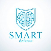Smart Defense concept of intelligent software antivirus or firewall Human anatomical brain composed with guard ammunition shield Vector logo or icon template