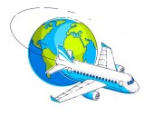 Airlines air travel emblem or illustration with plane airliner
