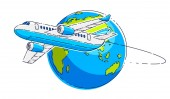 Plane airliner with earth planet airlines air travel emblem or illustration Beautiful thin line vector isolated over white background