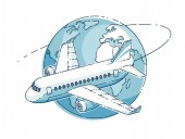 Airlines air travel emblem or illustration with plane airliner and planet earth Beautiful thin line vector isolated over white background