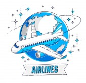 Airlines air travel emblem or illustration with plane airliner planet earth and ribbon with typing Beautiful thin line vector isolated over white background