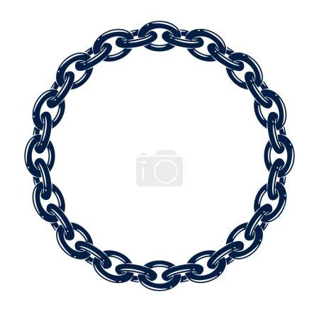 Round frame from chain, vector design element, cir...