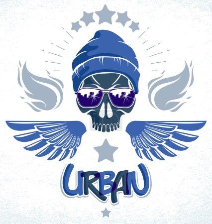 Urban culture style skull in sunglasses vector log...