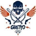 Brutal gangster emblem or logo with aggressive sku...