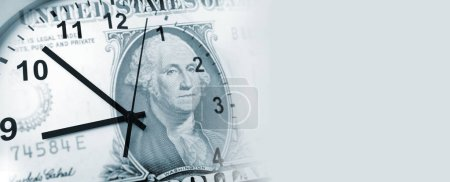 Clock and American banknote. Time is money idea
