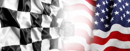 Photo for American flag and checkered racing flag - Royalty Free Image