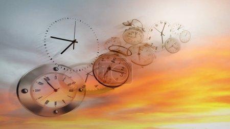 Clocks in bright sky. Time flies