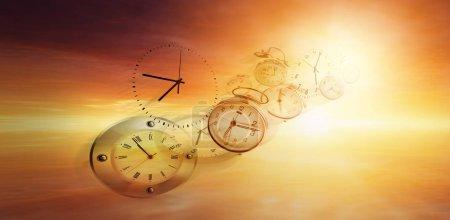 Photo pour Horloges dans un ciel lumineux. Le temps passe vite - image libre de droit