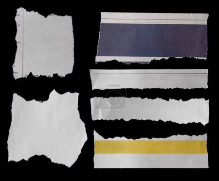 Six pieces of torn paper on black