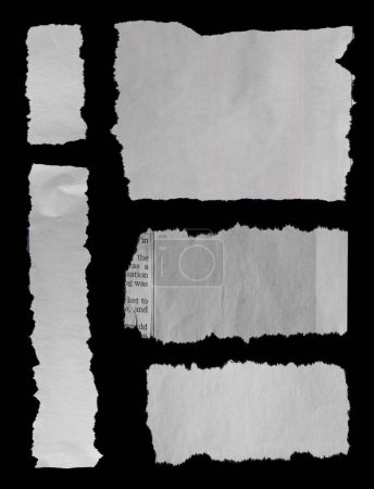 Five pieces of torn paper on black