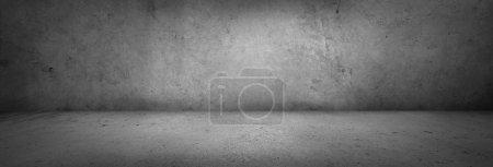Empty grey concrete floor and wall