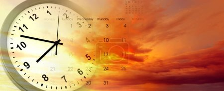 Clock and calendar in bright sky. Time passing...