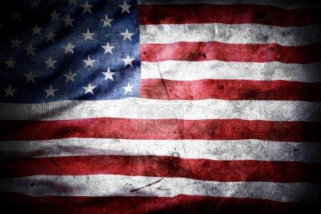 Photo pour Gros plan du drapeau américain grunge - image libre de droit