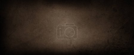 Photo for Brown textured concrete wall background. Dark edges - Royalty Free Image