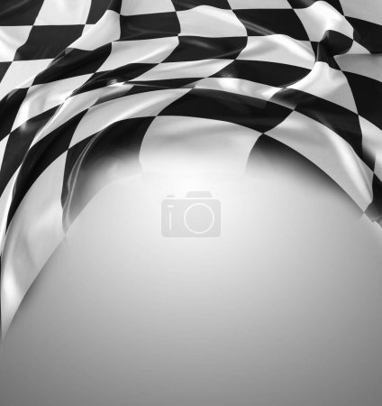 Photo for Checkered black and white flag on grey background. Copy space - Royalty Free Image
