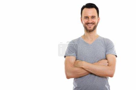 Photo pour Studio plan de jeune homme barbu beau sur fond blanc - image libre de droit
