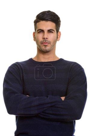 Photo pour Jeune homme persan beau avec les bras croisés isolé sur fond blanc - image libre de droit