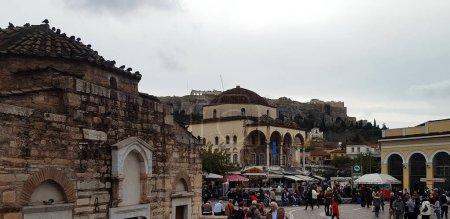 Photo for Athens, Greece - November 20, 2018. Beautiful view of Monastiraki square in Athens, Greece - Royalty Free Image