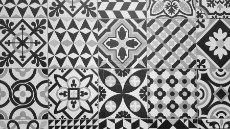 Photo for Black and white traditional ceramic floor tile as background - Royalty Free Image