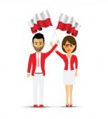 Poland flag waving man and woman