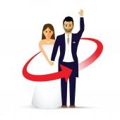 Waving wedding couple as an icon