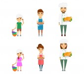 Set profession cook Little girl and boy dream of becoming cooks Man and woman are professional chefs In flat style on white background Cartoon