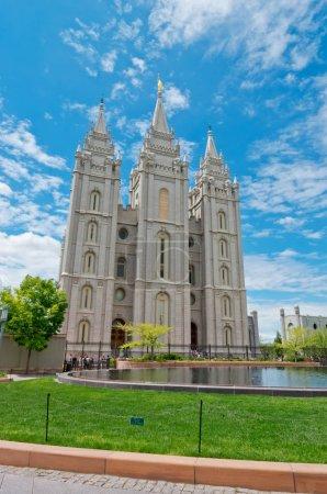Salt Lake City, USA - May 19, 2017: Temple of The Church of Jesus Christ of Latter-day Saints, Utah, USA