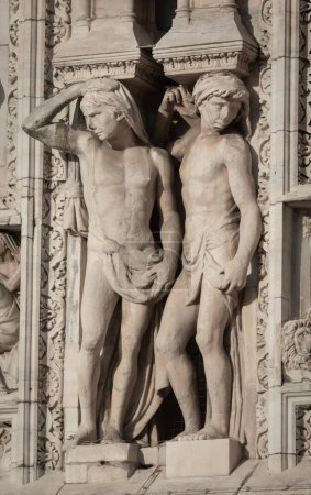 Milan, Italy - June 22, 2018: Outside decoration of Milan Cathedral, Metropolitan Cathedral-Basilica of the Nativity of Saint Mary.