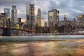 """Постер, картина, фотообои """"Красивый закат над Манхэттена с Бруклинского моста. Городской пейзаж Нью-Йорка"""""""