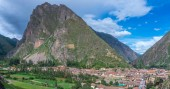 Ollantaytambo, Peru - March 10, 2015: View of town and old Inca fortress in the Sacred Valley in Andes, Cusco, Peru