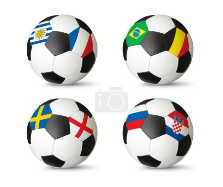 Quarter-finals 2018 FIFA world cup. Football soccer balls with flags of countries playing in the Quarter-finals Brazil, France, Belgium, Croatia, England, Sweden, Uruguay, Russia
