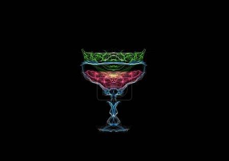 Foto de Pomelo cóctel de cal aislado en negro, dibujo gráfico arte generativo interactivo - Imagen libre de derechos