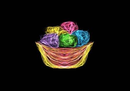 Foto de Bola de helado de arte, dibujo gráfico luminoso de neón de seda aislado en negro, arte generador interactivo - Imagen libre de derechos