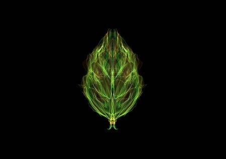 Foto de Hoja verde del arte, dibujo gráfico luminoso de neón de seda aislado en negro, arte generador interactivo - Imagen libre de derechos