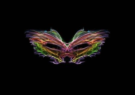 Foto de Máscara de pluma de maquerada de neón, dibujo gráfico luminoso de neón de seda aislado en negro, arte generador interactivo - Imagen libre de derechos
