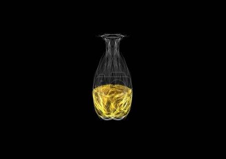 Foto de Vidrio de aceite de neón, dibujo gráfico luminoso de neón de seda aislado en negro, arte generador interactivo - Imagen libre de derechos