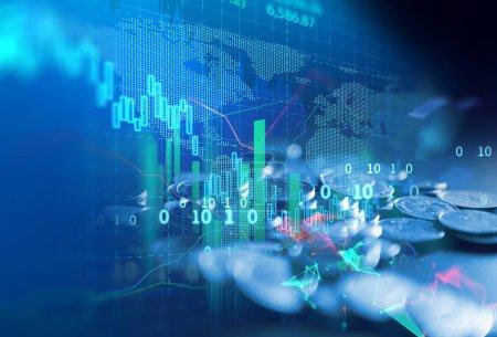 Photo pour Illustration de graphique de marché boursier financier, concept d'investissement des entreprises et négociation future d'actions - image libre de droit
