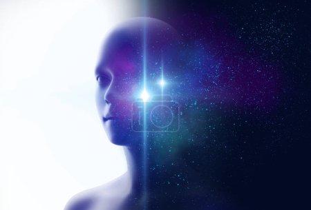 Photo pour Silhouette de l'humain virtuel et nébuleuse cosmos illustration 3D, représentent concept scientifique - image libre de droit