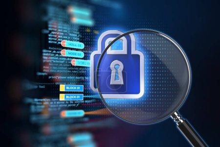 Photo pour Le verre grossissant sur cadenas fermé avec fond de données numériques représente le RGPD. - image libre de droit